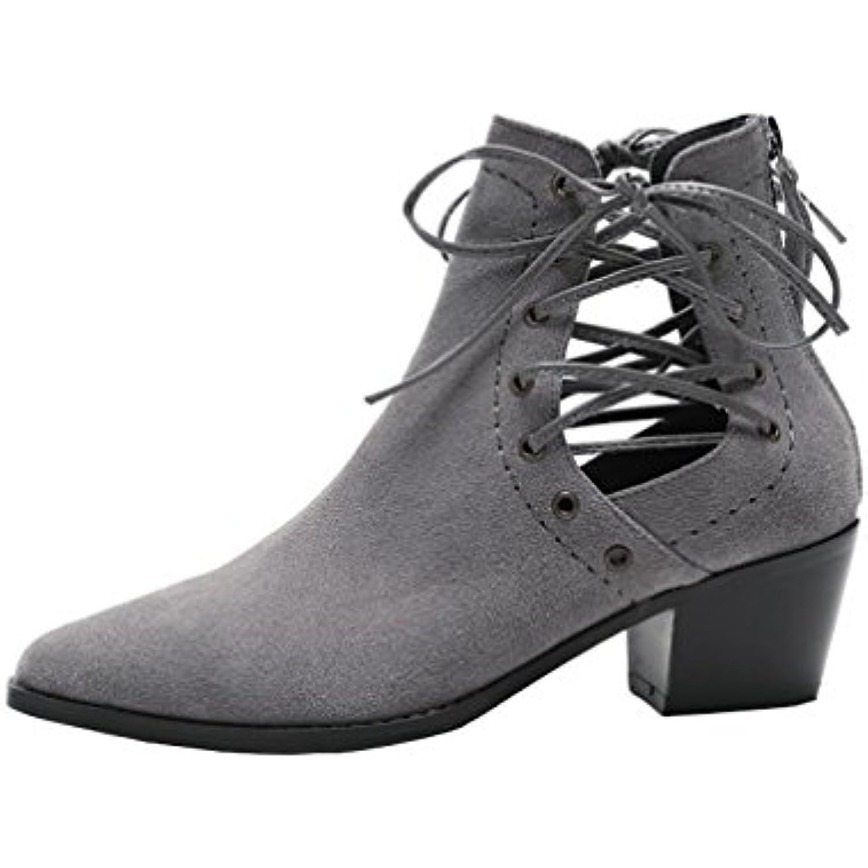 Vaneel Femme Sinoesa 6CM Bloc Fermeture Éclair Bottes Chaussures - - B07875P9CY - - fb9b15