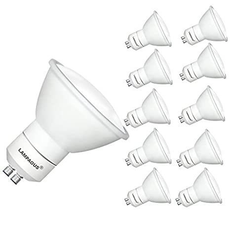 LAMPAOUS 5W LED GU10 Bulb 450lm 50W halogen GU10 Lamp replacment Cool White 6000K ,GU10 LED Recessed Lighting or Tracking Lighting, LED Lights Bulbs,120 Degree,Ceramic Housing,Pack of