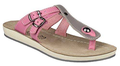 Fantasy Ladies Athens Leather Metal Buckle Flip Flop Sandal Pink Grey/Pink