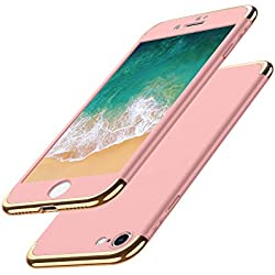 Luckydeer Coque iPhone 7 et Protection d'écran en Verre Trempé, Housse iPhone 7 [ 3 en 1 Series Electro Placage Texture 360 Degrés Ultra Resistante ] PC Dur Rigide Housse iPhone 7-4,7'' Or Rose