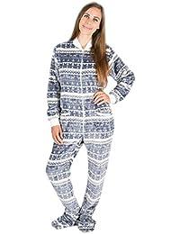 Silber-Weihnacht Kajamaz: Strampler für Erwachsene mit Füßlingen, einteiliger Schlafoverall aus Fleece, Einteiler für Erwachsene, Unisex-Fleece-Schlafanzug
