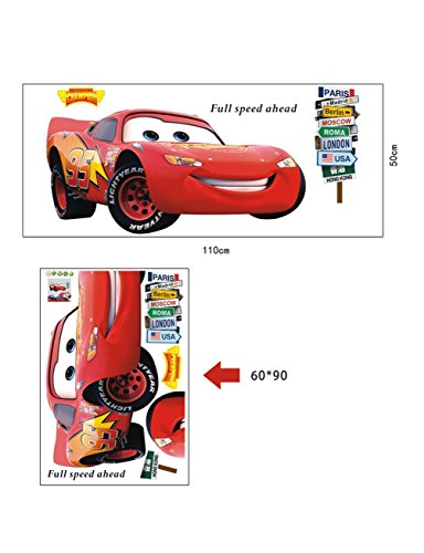 Image of wondersstyle DISNEY CARS LIGHTNING MCQUEEN Wall Stickers Removable Art Decal Kids Nursery