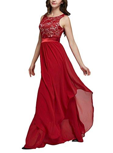 Brinny Damen Elegant Cocktailkleid Chiffon Sommerkleid Spitze Brautjungfernkleid Hochzeit Maxi Ärmellos Rot