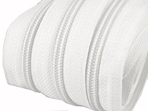 6 m endlos Reißverschluss 5 mm Laufschiene + 15 Zipper Meterware teilbar Farbwahl (weiß)