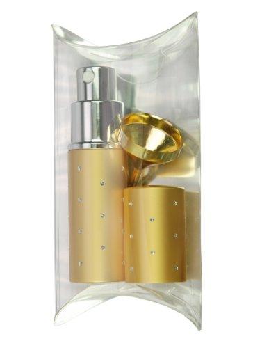 Fantasia, set regalo con vaporizzatore vuoto tascabile per profumo con imbuto dorato, 10 ml, oro (gold)