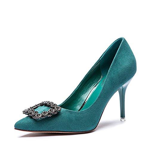 Signora coreana strass asakuchi scarpe/Scarpe a punta a spillo tacco alto-A Longitud del pie=22.3CM(8.8Inch)
