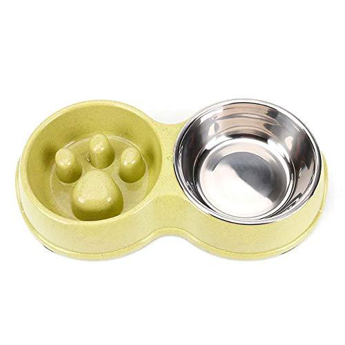 DaoRier Cuenco Doble Comida Lenta Comedero Mascotas
