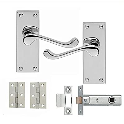 7 Sets Of Victorian Scroll Latch Door Handles Polished Chrome Hinges & Latches Pack Sets - cheap UK light store.
