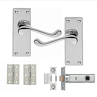 Pack 5 Victorian Scroll Satin / Brushed Chrome Latch Handle with latch and hinges 99x35mm