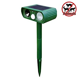 ACMEDE Animals Repeller Solar Powered Battery Cat Dog Repeller Waterproof Ultrasonic Animal Repellent PIR Motion Sensor For Garden Yard(Weather-Resistant,No Harmful For Human,Covers Up To 225 sq m)