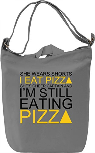 She Wears Shorts I Eat Pizza She's Cheer Captain Slogan Leinwand Tagestasche Canvas Day Bag| 100% Premium Cotton Canvas| DTG Printing| (Shorts Retro Cheer)