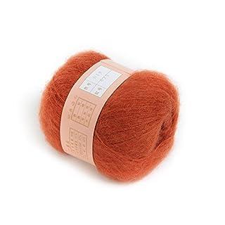 ANKKO 1pcs Soft Natural Angola Plush Mohair Cashmere Wool Knitting Skein Yarn - Orange