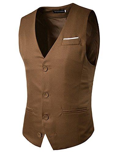 Boom Fashion Gilet Veston Veste Costume Sans Manches Slim Fit Homme mode Marron Three