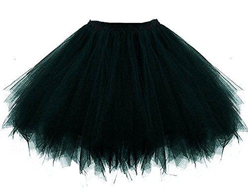 HotQueen Women's 1950s Vintage Petticoats Crinolines Bubble Tutu Dance Half Slip Skirt (Size Schwarz Plus Tutu)