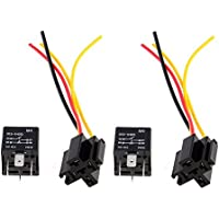 SODIAL(R) 2 x Reles Fitted Electricos 40A 12V 4 Pin Cable Conector para Coche
