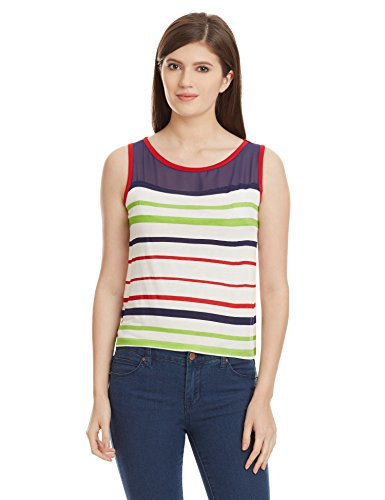 Unshackled Women's Striped T-Shirt (US177-White-Small)  available at amazon for Rs.179