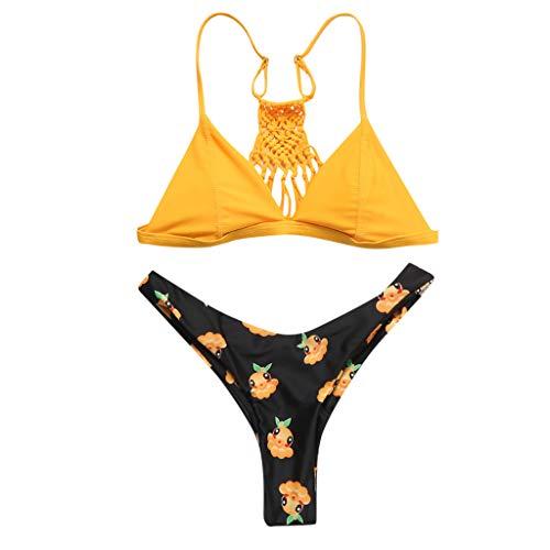 Malloom-Bekleidung Plus Size Frauen Kirschdruck Push-Up gepolstertes Bikini Set BH Badeanzug Beachwear Kirschdruck Plus Dünger zur Erhöhung des Bikinifetts Swimsuit swimanzug Swimwear