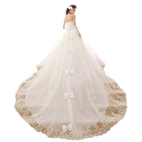 Ruched Tube Dress (Frauen Lange schleppende Tube Top ärmellose Spitze Brautkleid Braut Brautkleid Brautkleid,White,S)