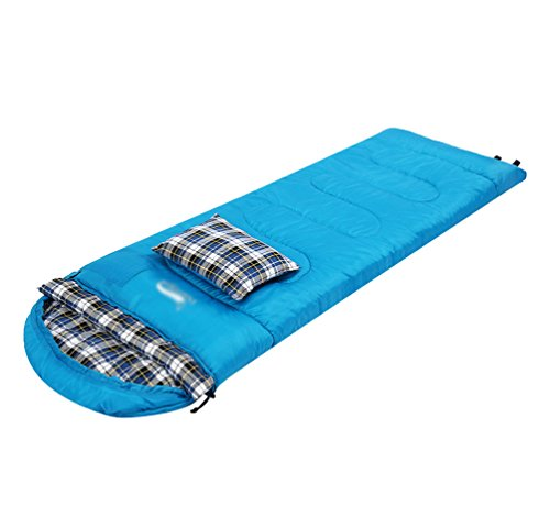 Lihaer Schlafsack Daunen Schlafsack 3 Jahreszeiten-Schlafsack Outdoor Camping Kapuze Wandern Schlafsack mit kissen Blau 220CM * 75CM