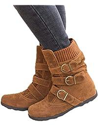 JOYTO Bottes Fourrees Femmes Plate Hiver Daim Cuir Neige Compensé Bottine Cheville Chaude Winter Ankle Boots Chaussures Warm Confortable Noir Marron Gris Rouge 35-43