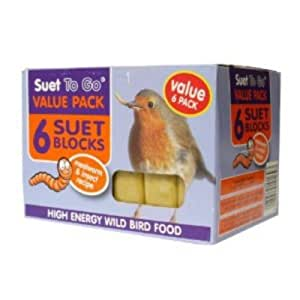 Suet to Go Wild Bird Suet Block Mealworms & Insect 300g Value Pack (Pack of 6)