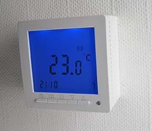 SM-PC®, Digital Thermostat ´Aufputz´ für Fussbodenheizung max 16A, großes Display, Wochenprogramm #894ap