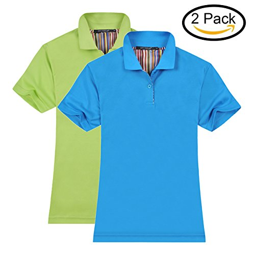 MTTROLI Womens Polo Shirts, Ladies Stretch Polo Shirts Short Sleeve Tops Workwear Pack Of 2
