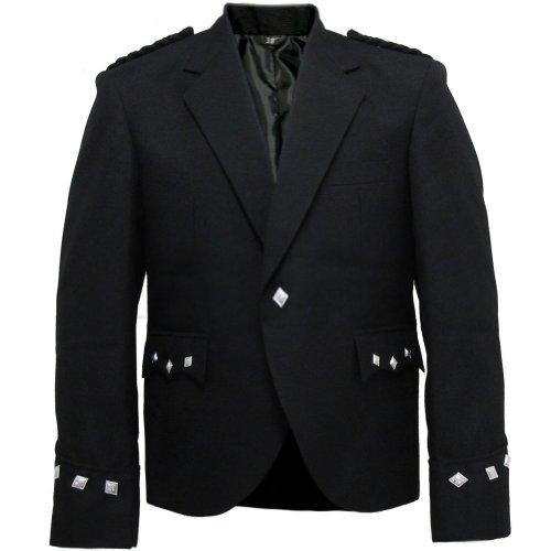 Tartanista - Veste Argyll pour Kilt - Homme - Noir uni - 112 cm Normal