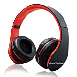 Oyvind Norberg® Bluetooth Wireless Over-ear Stereo Headphones Wireless/Wired Headsets with Microphone for Music Streaming For iPhone 6s 6 5s 4s, iPad, iPod, Samsung Galaxy, Smart Phones Bluetooth Devices(Foldable Black and Red)