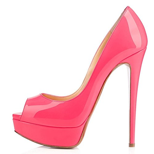 EDEFS Damenschuhe High Heels Plateau Pumps Peep Toe Stilettos Kleid-Partei Schuhe Peach