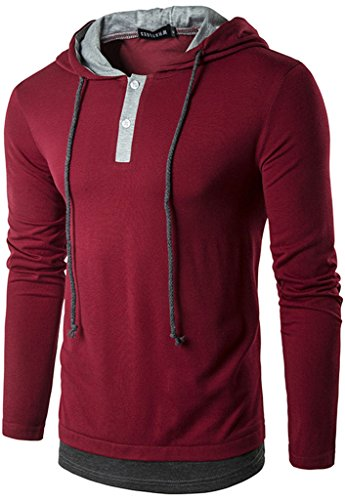 Whatlees Herren Urban Basic reguläre Passform lang arm Langes T-shirt mit Kapuzer aus weiches Jersey B417-Red