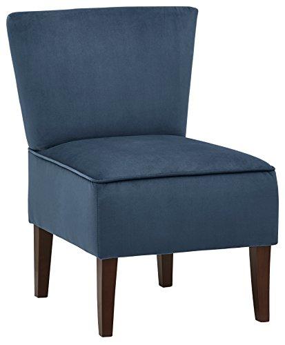 Rivet Ashworth - Butaca de diseño de terciopelo sin reposabrazos (azul marino)