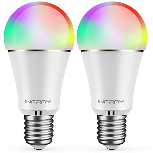Smart LED Lampe 2er Pack, infray Alexa Lampe E27, Smart Lampe, 9W, 900LM, Wifi Smart Glühbirne RGBW dimmbar Wlan Glühbirne, APP gesteuert, weißes und buntes Licht, kompatibel mit Alexa, Echo, Google