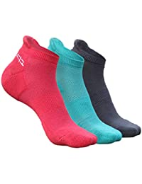 Heelium Bamboo Women's Ankle Socks for Running Sports & Gym, White Grey Pink Teal, Anti Odour Breathable Durable Anti Blister Free Size (Shoe Size UK3 - UK7), Combo Pack of 3 Pairs