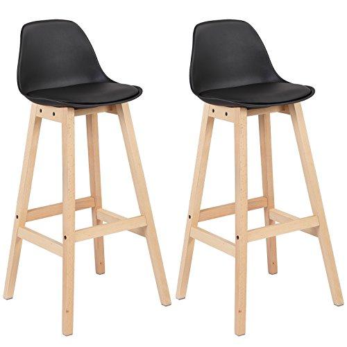 WOLTU BH44sz-2 2 x Barhocker 2er Set Barstuhl aus Kunststoff Holz mit Lehne Design Stuhl Küchenstuhl Schwarz