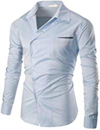 BUSIM Men's Long-Sleeved Shirt Autumn Casual Fashion Slim Cotton V-Neck Solid Color Diagonal Buckle T-Shirt Top...