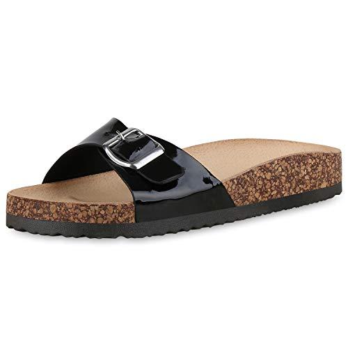 SCARPE VITA Damen Sandalen Pantoletten Lack Sommer Hausschuhe Schlappen Korkoptik Schuhe Bequeme Sommerschuhe 183345 Schwarz Black 39