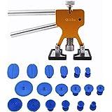 Qiilu Kit de herramientas para reparación de abolladuras Coche - Tirador del pegamento del levantador + 18 pestañas Parche de reparación paintless ToolKit Remoción de granizo