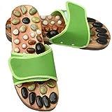 Pierre naturelle Sandales jnvshop Réflexologie en bois pied Pantoufles de massage Accupressure Chaussures (39 EU, Green)