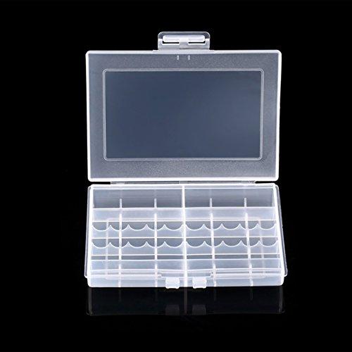 Heraihe Transparente Hartplastik Fall LEISE 8002 Batterien Speicher-Fall-Halter-Speicher-Batterie-Kasten für 10 x AA oder 14 x AAA Batterie