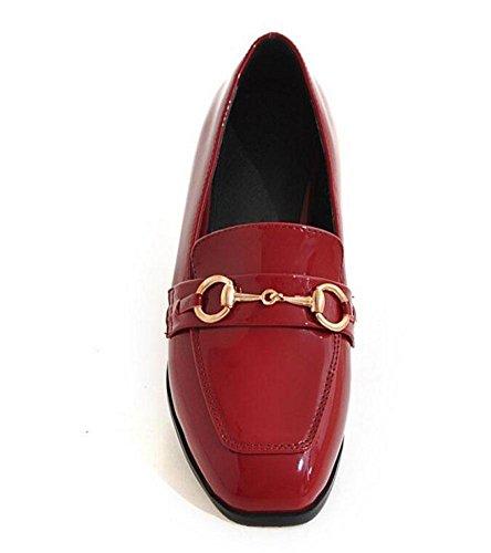 SHIXR Frauen-Geschlossen-Zehen-Pumpen-Pferden-Wölbung Einzelne Schuhe flache Schuhe Gericht Schuhe Boot Schuhe Sandalen Red