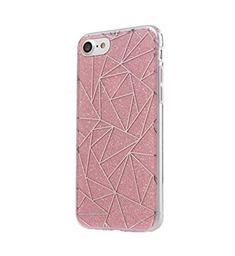 Incendemme Glitzer Handyhülle Schutzhülle Handy Schutzschalen Herz Stern Karo Muster Hülle Case (für iPhone 7 plus, Karo-Pink) Karo-Pink
