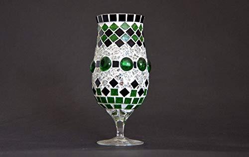 Handgefertigtes Windlicht grün schwarz spiegel Aus ALT mach NEU Grün Spiegel