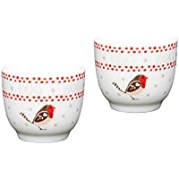 Kitchen Craft Little Red Robin Porcelain Christmas Egg Cup Set - White (2 Pieces)