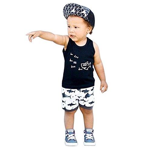 Diath Bekleidungssets, Kleinkind Kleinkind Baby Jungen MäDchen Plaid Tops Crewneck ÄRmellos T-Shirt Weste + Shorts Outfits Kleidung Set Shortsset Sommer-Set Outfits -