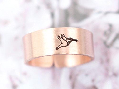 Kolibri Kupferring handgestempelt 6mm breit, geschwärzt, glänzend
