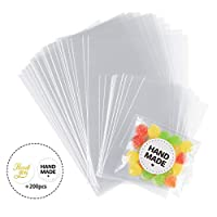 Anstore 200x Clear Flat Cello Cellophane Treat Bags OPP Plastic Gift Bags for Cookies, Candy, Sweat, Soap, Valentine Chocolates, Food with Thank You / Handmade Stickers