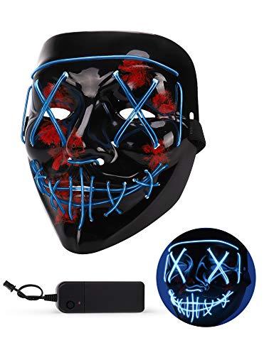 AnanBros Halloween Maske, LED Purge Maske im Dunkeln Leuchtend, Halloween Purge Maske 3 Beleuchtungsmodi für Kostümspiele Cosplays Feste und Partys - Blau (Ahnungslos Kostüm Party)