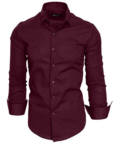Amaci&Sons Herren Slim Fit Hemd Bügelleicht Business Freizeit Shirt 50003 Bordeaux M