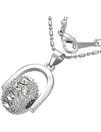 Mode Kristall drehbare Kugel Charm Halskette mit Zirkon - Weiß